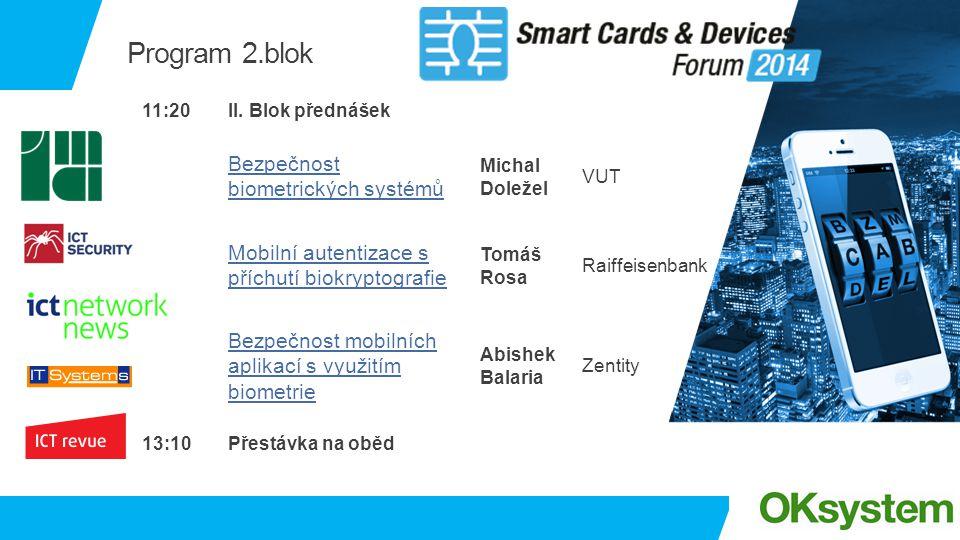 Program 2.blok 11:20II. Blok přednášek Bezpečnost biometrických systémů Michal Doležel VUT Mobilní autentizace s příchutí biokryptografie Tomáš Rosa R