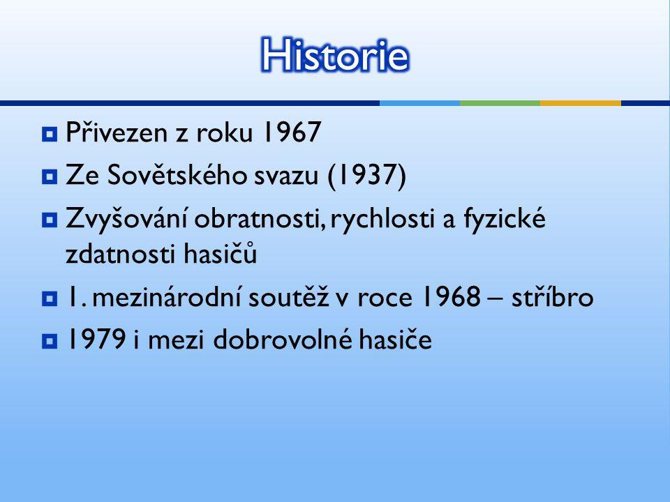  Přivezen z roku 1967  Ze Sovětského svazu (1937)  Zvyšování obratnosti, rychlosti a fyzické zdatnosti hasičů  1. mezinárodní soutěž v roce 1968 –