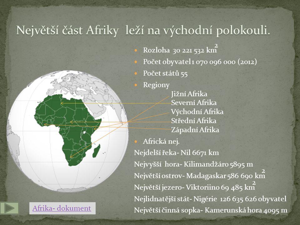  Rozloha 30 221 532 km  Počet obyvatel 1 070 096 000 (2012)  Počet států 55  Regiony Jižní Afrika Severní Afrika Východní Afrika Střední Afrika Západní Afrika  Africká nej.