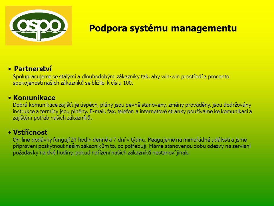 Podpora systému managementu • Partnerství Spolupracujeme se stálými a dlouhodobými zákazníky tak, aby win-win prostředí a procento spokojenosti našich zákazníků se blížilo k číslu 100.