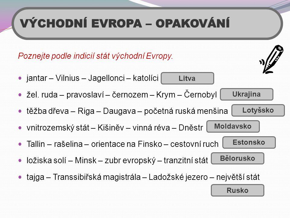 Poznejte podle indicií stát východní Evropy.  jantar – Vilnius – Jagellonci – katolíci  žel. ruda – pravoslaví – černozem – Krym – Černobyl  těžba