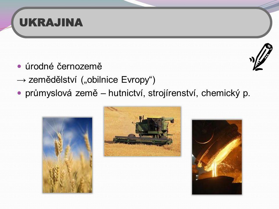""" úrodné černozemě → zemědělství (""""obilnice Evropy"""")  průmyslová země – hutnictví, strojírenství, chemický p."""