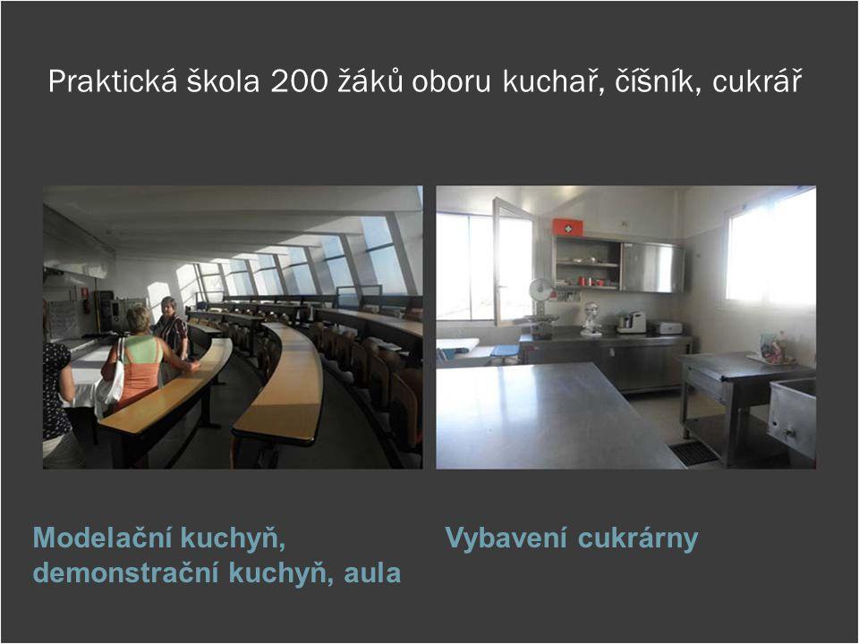 Praktická škola 200 žáků oboru kuchař, číšník, cukrář Modelační kuchyň, demonstrační kuchyň, aula Vybavení cukrárny