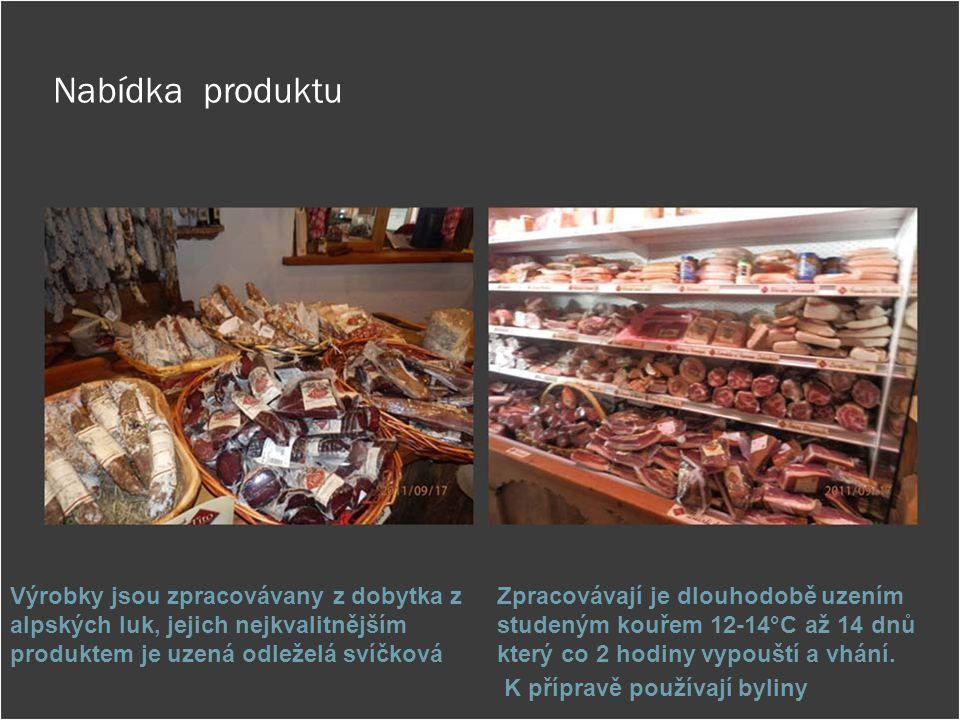 Nabídka produktu Výrobky jsou zpracovávany z dobytka z alpských luk, jejich nejkvalitnějším produktem je uzená odleželá svíčková Zpracovávají je dlouh