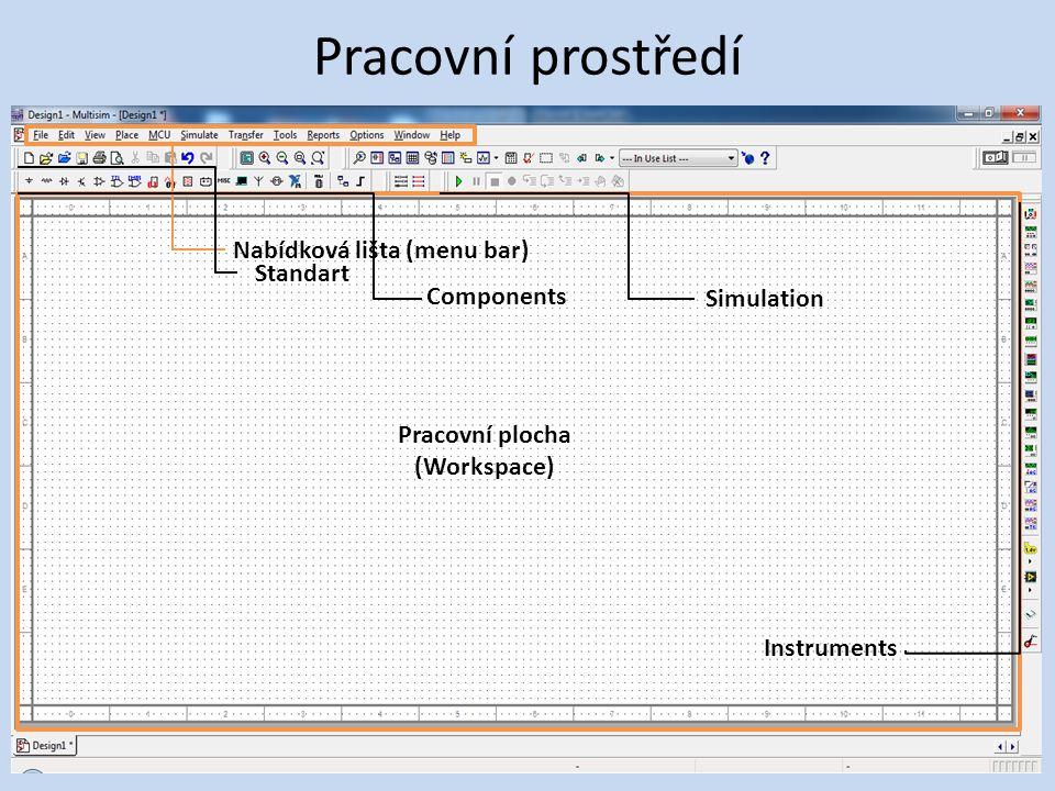 Pracovní prostředí Pracovní plocha (Workspace) Nabídková lišta (menu bar) Standart Components Simulation Instruments