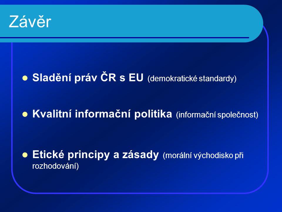 Závěr  Sladění práv ČR s EU (demokratické standardy)  Kvalitní informační politika (informační společnost)  Etické principy a zásady (morální výcho