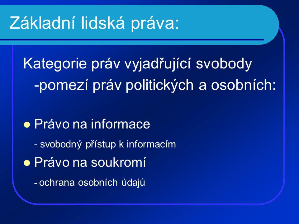 Základní lidská práva: Kategorie práv vyjadřující svobody -pomezí práv politických a osobních:  Právo na informace - svobodný přístup k informacím 