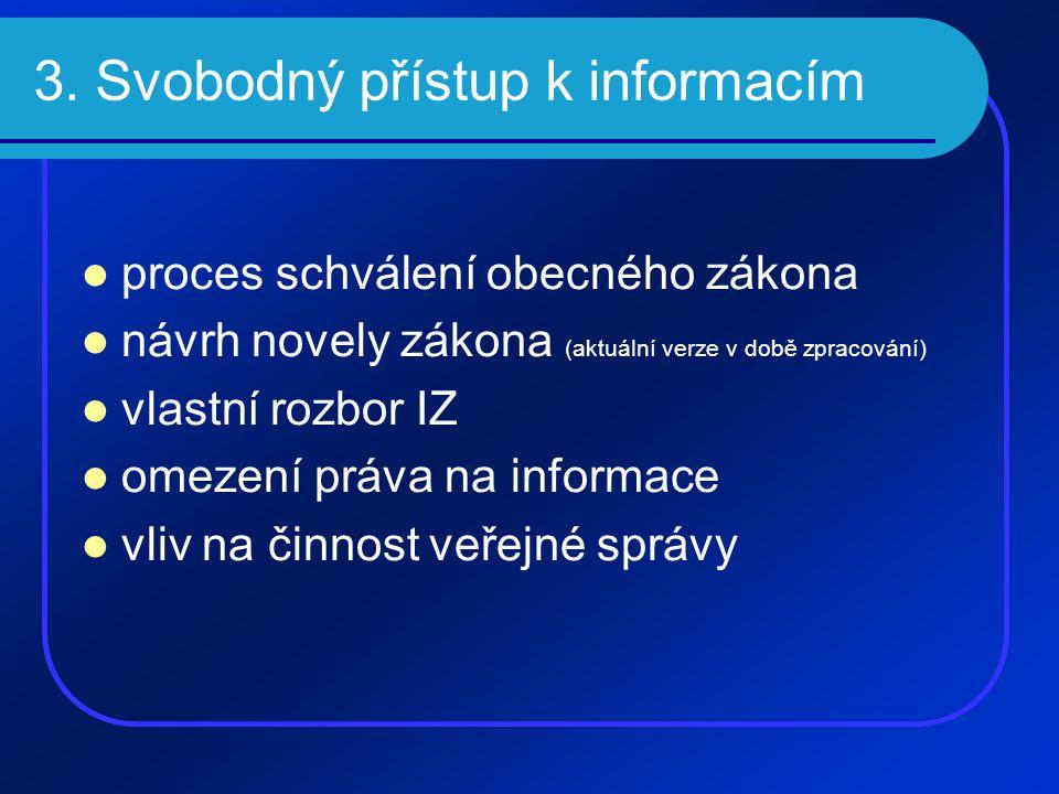 3. Svobodný přístup k informacím  proces schválení obecného zákona  návrh novely zákona (aktuální verze v době zpracování)  vlastní rozbor IZ  ome