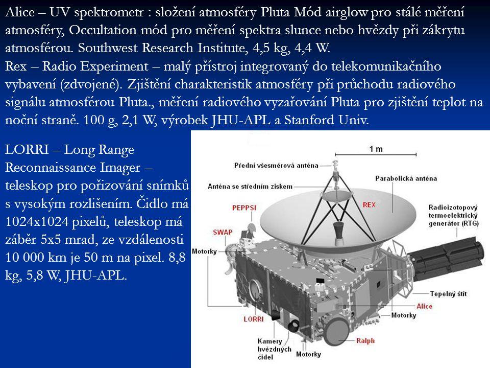 Alice – UV spektrometr : složení atmosféry Pluta Mód airglow pro stálé měření atmosféry, Occultation mód pro měření spektra slunce nebo hvězdy při zákrytu atmosférou.