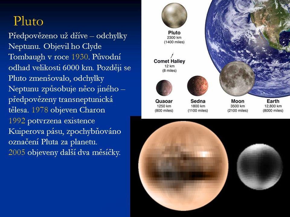Pluto Předpovězeno už dříve – odchylky Neptunu.Objevil ho Clyde Tombaugh v roce 1930.