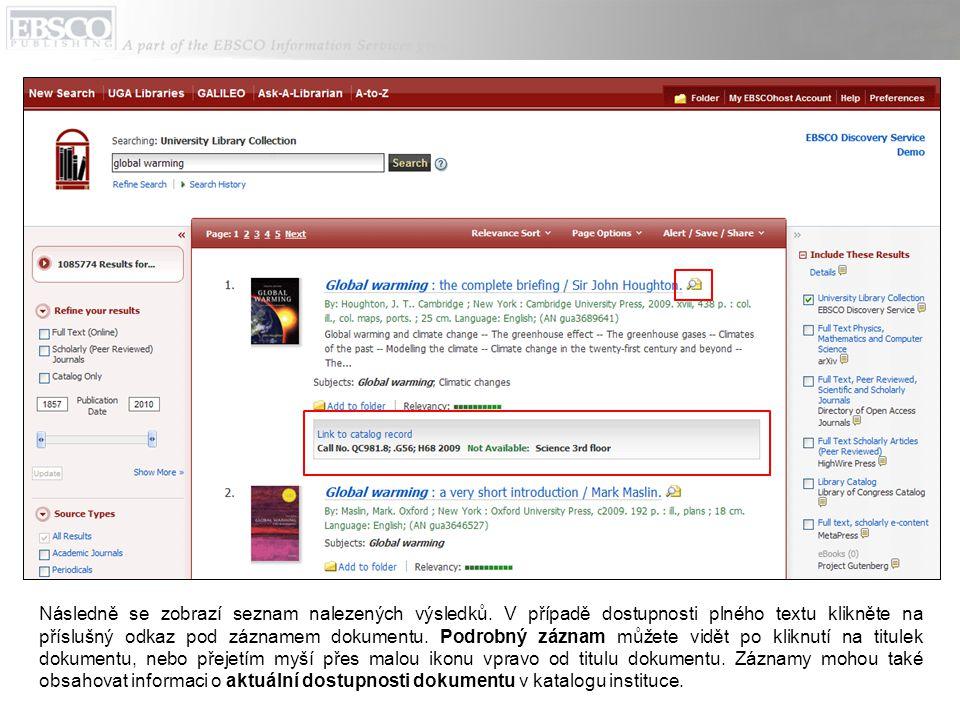 Na obrazovce seznamu výsledků je několik možností, jak pozměnit vyhledávání.