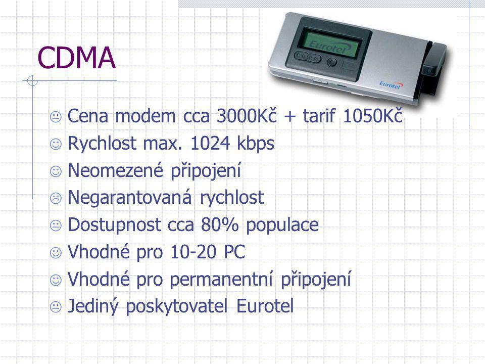 CDMA  Cena modem cca 3000Kč + tarif 1050Kč  Rychlost max. 1024 kbps  Neomezené připojení  Negarantovaná rychlost  Dostupnost cca 80% populace  V