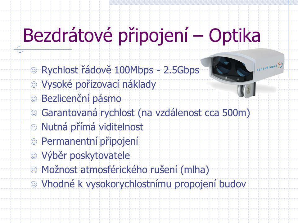 Bezdrátové připojení – Optika  Rychlost řádově 100Mbps - 2.5Gbps  Vysoké pořizovací náklady  Bezlicenční pásmo  Garantovaná rychlost (na vzdálenos