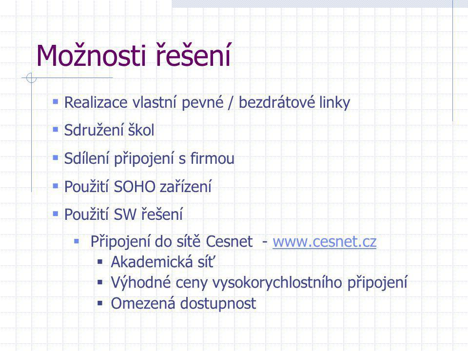 Možnosti řešení  Připojení do sítě Cesnet - www.cesnet.czwww.cesnet.cz  Akademická síť  Výhodné ceny vysokorychlostního připojení  Omezená dostupn
