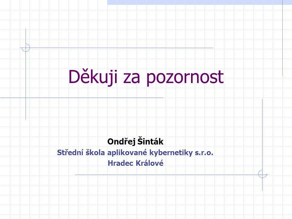 Děkuji za pozornost Ondřej Šinták Střední škola aplikované kybernetiky s.r.o. Hradec Králové