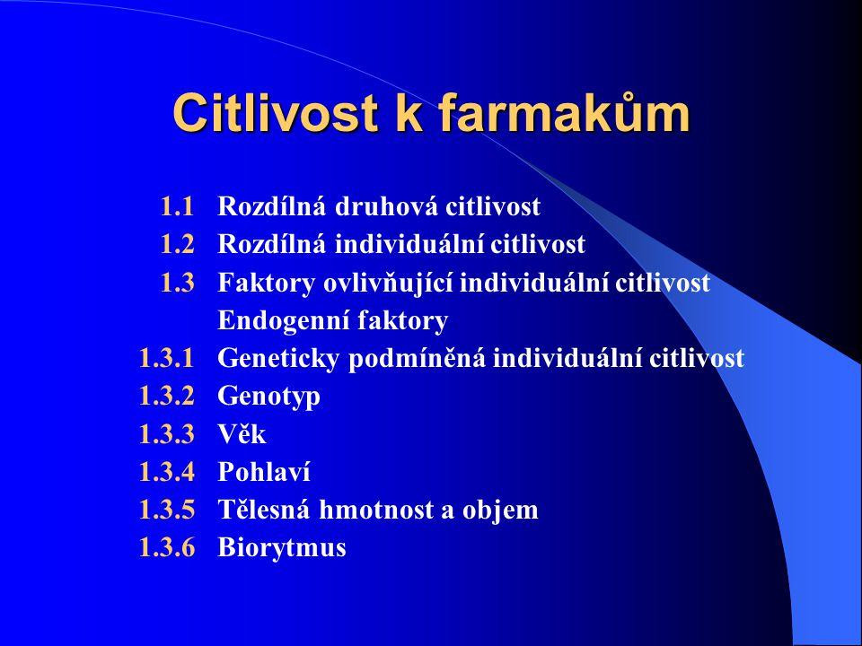 Citlivost k farmakům 1.1 Rozdílná druhová citlivost 1.2 Rozdílná individuální citlivost 1.3 Faktory ovlivňující individuální citlivost Endogenní faktory 1.3.1 Geneticky podmíněná individuální citlivost 1.3.2 Genotyp 1.3.3 Věk 1.3.4 Pohlaví 1.3.5 Tělesná hmotnost a objem 1.3.6 Biorytmus