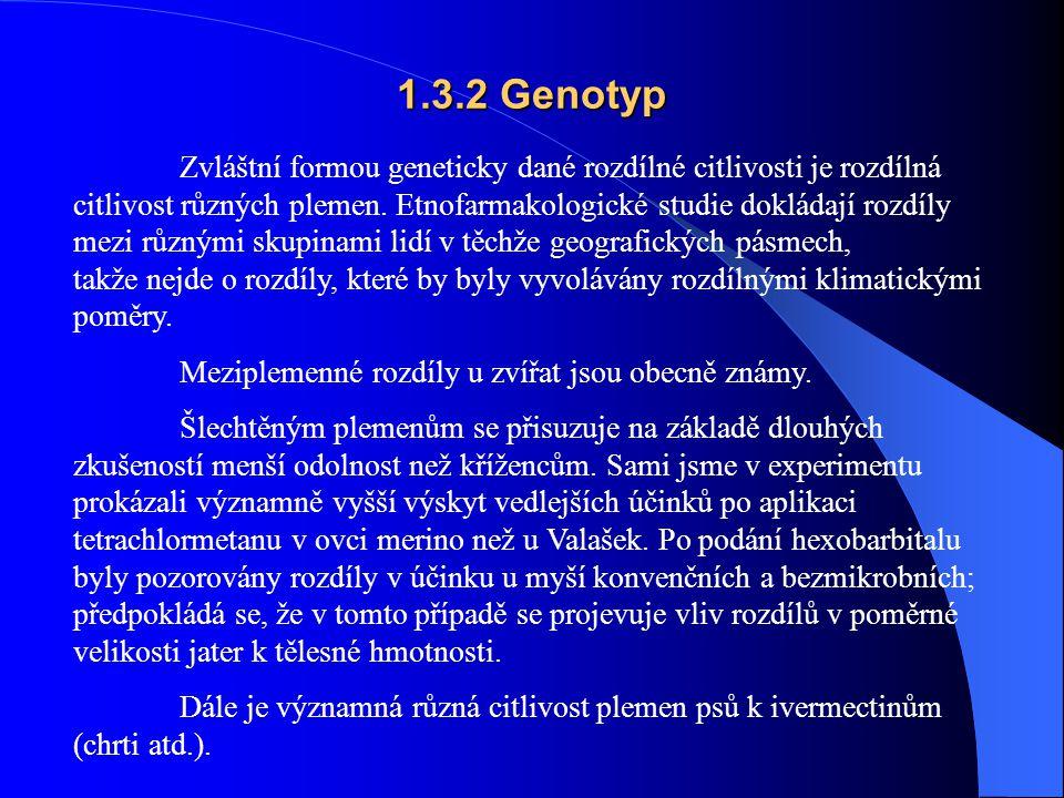 1.3.2 Genotyp Zvláštní formou geneticky dané rozdílné citlivosti je rozdílná citlivost různých plemen.