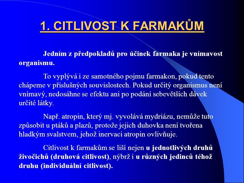 1.CITLIVOST K FARMAKŮM Jedním z předpokladů pro účinek farmaka je vnímavost organismu.