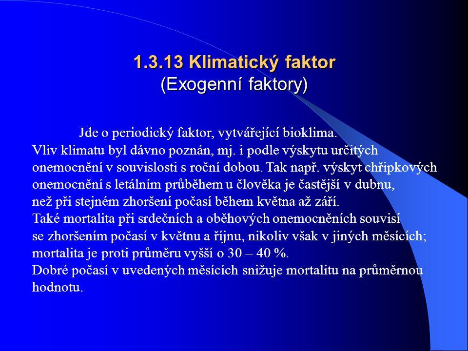 1.3.13 Klimatický faktor (Exogenní faktory) Jde o periodický faktor, vytvářející bioklima.