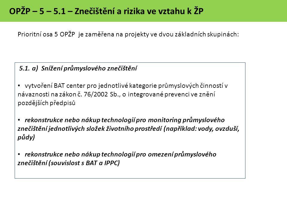OPŽP – 5 – 5.1 – Znečištění a rizika ve vztahu k ŽP 5.1.