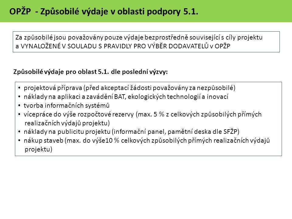 OPŽP - Způsobilé výdaje v oblasti podpory 5.1.
