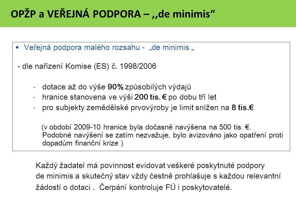 """OPŽP a VEŘEJNÁ PODPORA –,,de minimis  Veřejná podpora malého rozsahu - """"de minimis """" - dle nařízení Komise (ES) č."""