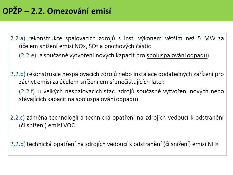OPŽP – 2.2. Omezování emisí 2.2.a) rekonstrukce spalovacích zdrojů s inst.