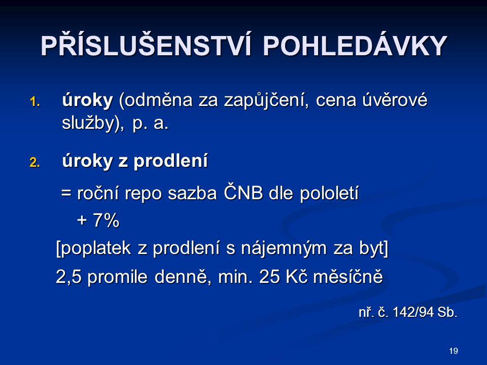 19 PŘÍSLUŠENSTVÍ POHLEDÁVKY 1.úroky (odměna za zapůjčení, cena úvěrové služby), p.