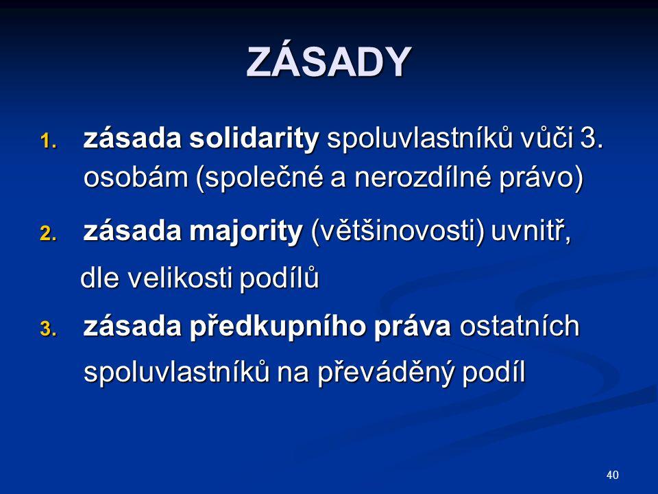 40 ZÁSADY 1.zásada solidarity spoluvlastníků vůči 3.