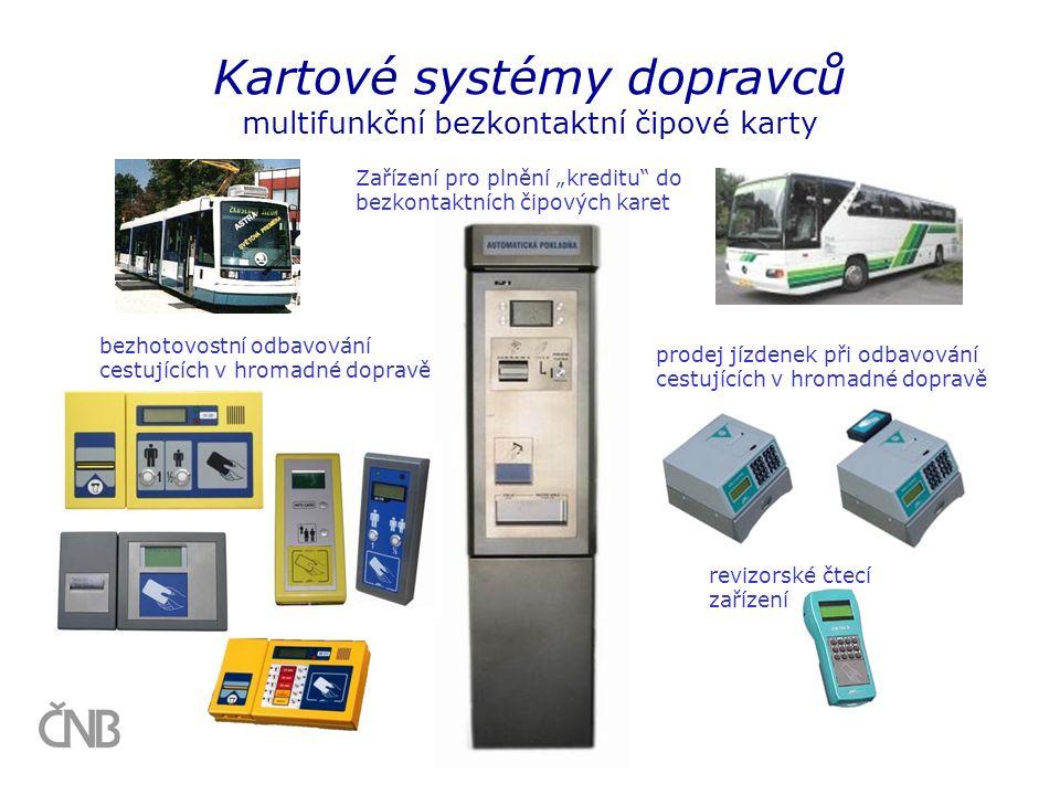 Kartové systémy dopravců multifunkční bezkontaktní čipové karty bezhotovostní odbavování cestujících v hromadné dopravě revizorské čtecí zařízení prod