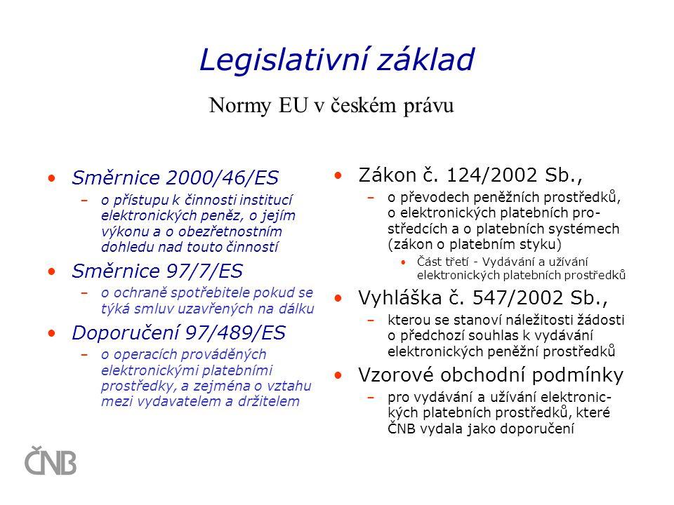 •Směrnice 2000/46/ES –o přístupu k činnosti institucí elektronických peněz, o jejím výkonu a o obezřetnostním dohledu nad touto činností •Směrnice 97/