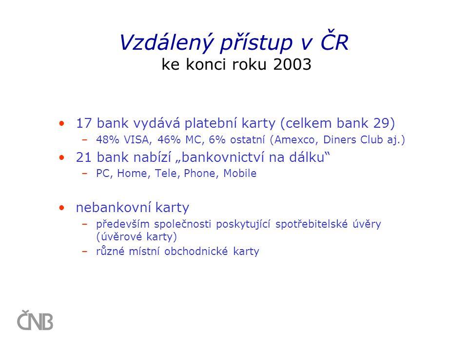 """•17 bank vydává platební karty (celkem bank 29) –48% VISA, 46% MC, 6% ostatní (Amexco, Diners Club aj.) •21 bank nabízí """"bankovnictví na dálku"""" –PC, H"""