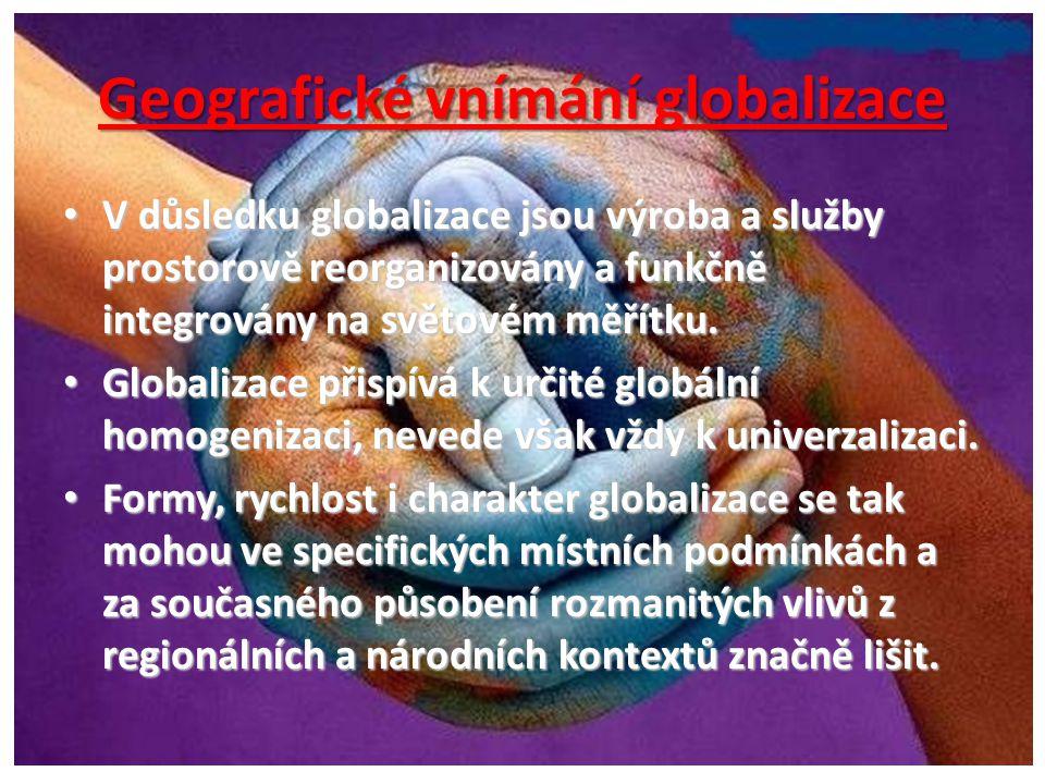 Makrogeografické dopady globalizace • Vytváření nové hierarchie světových měst, propojených aktivitami nadnárodních společností v oblasti výrobních služeb.