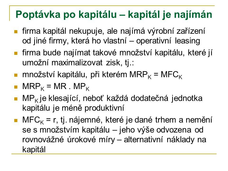 ffirma kapitál nekupuje, ale najímá výrobní zařízení od jiné firmy, která ho vlastní – operativní leasing ffirma bude najímat takové množství kapitálu, které jí umožní maximalizovat zisk, tj.: mmnožství kapitálu, při kterém MRP K = MFC K MMRP K = MR.