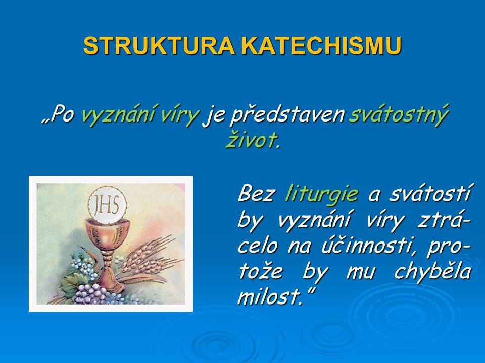 """STRUKTURA KATECHISMU """"Po vyznání víry je představen svátostný život."""