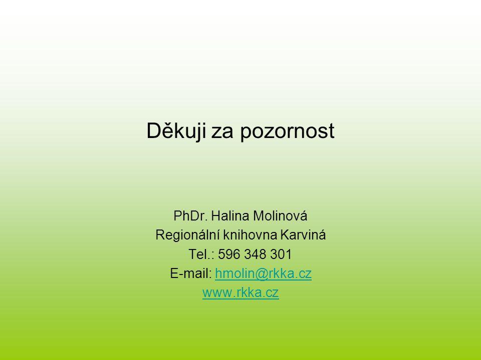 Děkuji za pozornost PhDr.