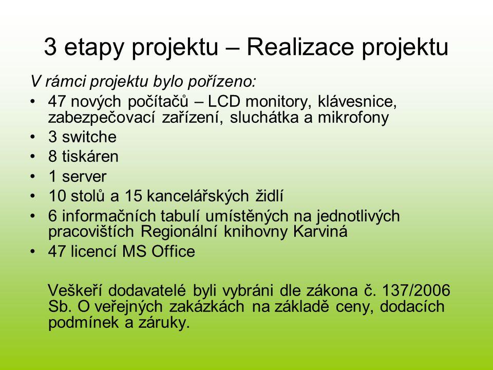 3 etapy projektu – Realizace projektu •Realizace vzdělávacích akcí, které umožňují využití počítačů získaných v rámci projektu:  Pondělní internetová setkání – seznamování s internetem, způsoby vyhledávání na internetu, zakládání e-mailových schránek apod.