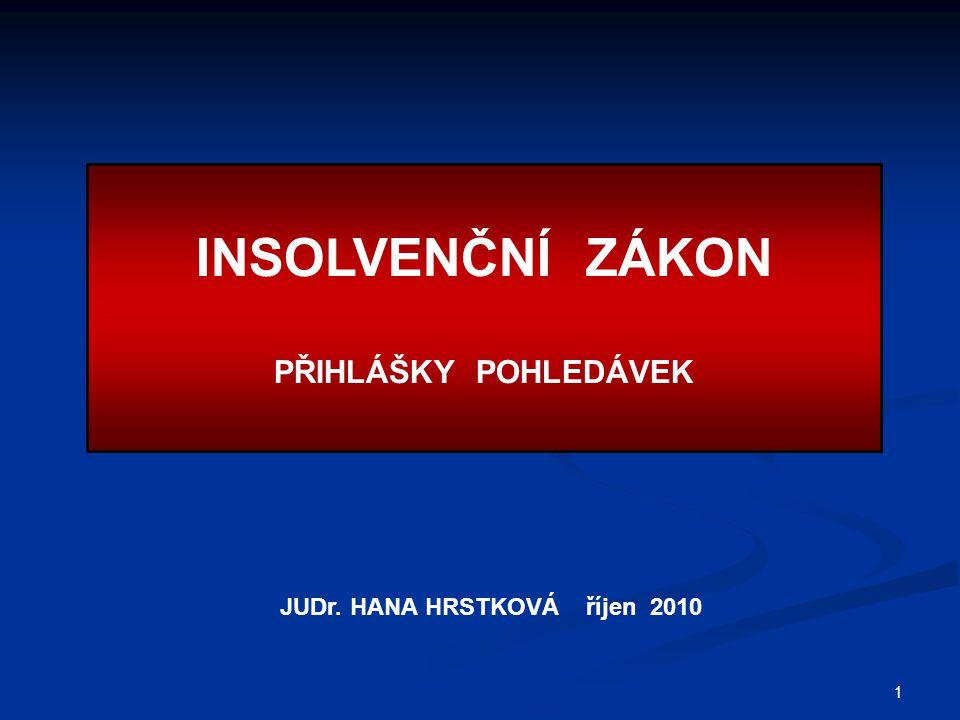 1 INSOLVENČNÍ ZÁKON PŘIHLÁŠKY POHLEDÁVEK JUDr. HANA HRSTKOVÁ říjen 2010