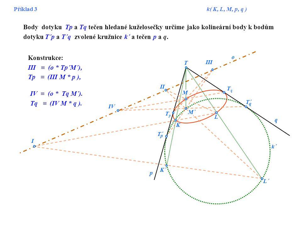 Příklad 3 k( K, L, M, p, q ) T III II I IV K L M´ L´ M K´ p q TqTq T´ q p TpTp o k´ Body dotyku Tp a Tq tečen hledané kuželosečky určíme jako kolineár