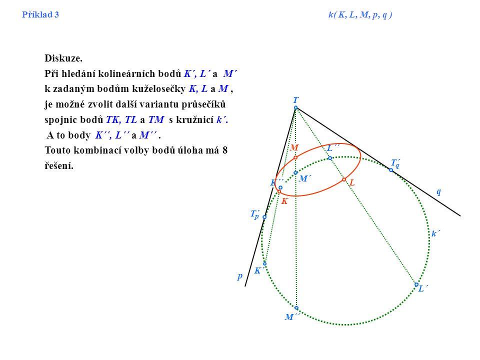 Příklad 3 k( K, L, M, p, q ) T K L M´ L´ M K´ p q T´ q p k´ L´´ M´´ K´´ Diskuze. Při hledání kolineárních bodů K´, L´ a M´ k zadaným bodům kuželosečky
