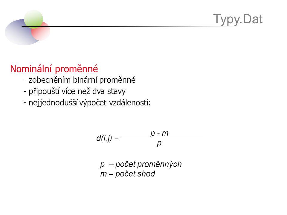 Nominální proměnné Typy.Dat - zobecněním binární proměnné - připouští více než dva stavy - nejjednodušší výpočet vzdálenosti: p - m p d(i,j) = p – poč