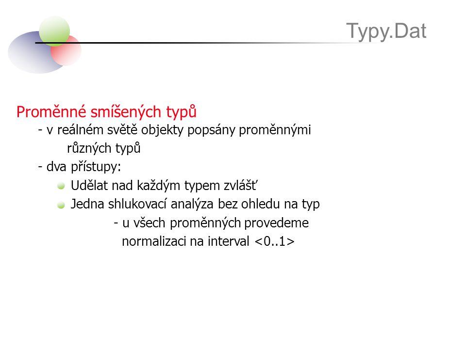 Proměnné smíšených typů Typy.Dat - v reálném světě objekty popsány proměnnými různých typů - dva přístupy: Udělat nad každým typem zvlášť Jedna shluko
