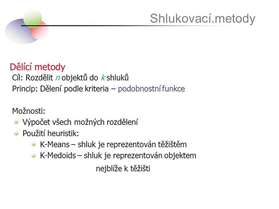Dělící metody Shlukovací.metody Cíl: Rozdělit n objektů do k shluků Princip: Dělení podle kriteria – podobnostní funkce Možnosti: Výpočet všech možnýc