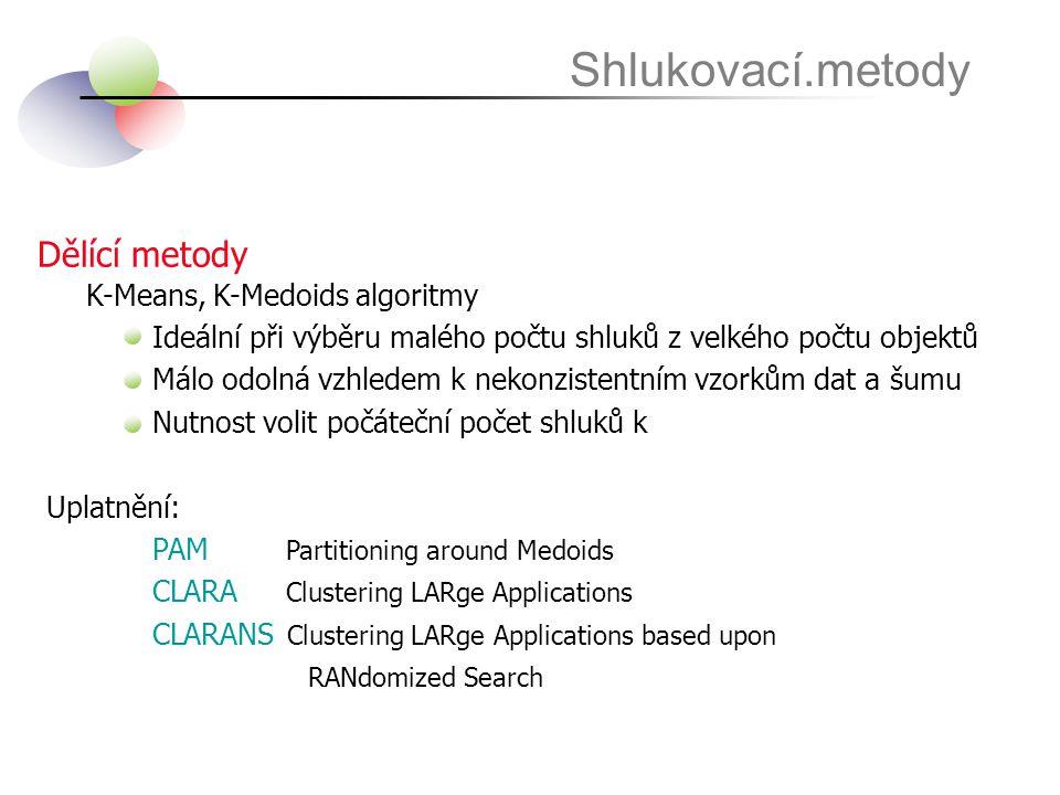 Dělící metody Shlukovací.metody K-Means, K-Medoids algoritmy Ideální při výběru malého počtu shluků z velkého počtu objektů Málo odolná vzhledem k nek