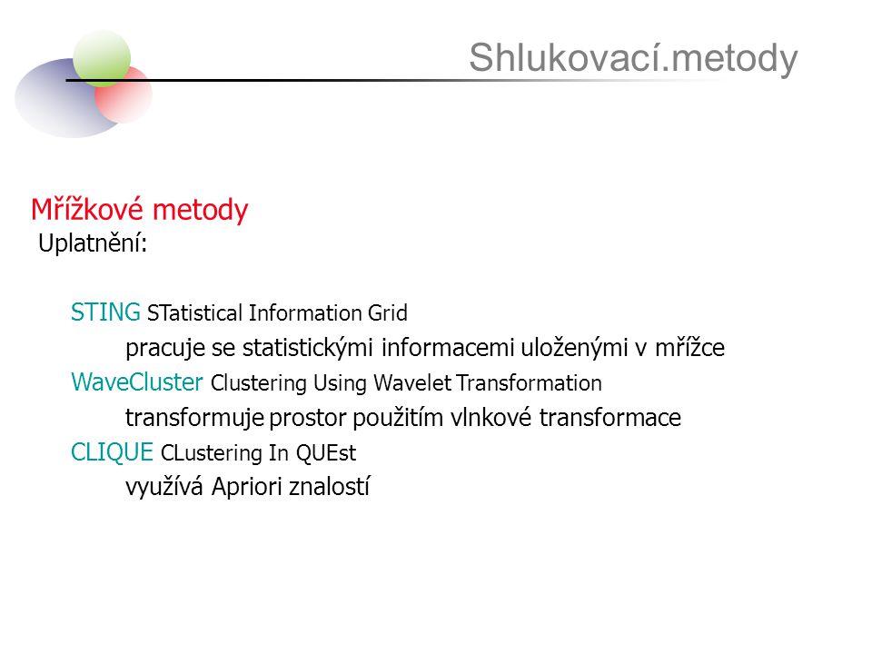 Mřížkové metody Shlukovací.metody Uplatnění: STING STatistical Information Grid pracuje se statistickými informacemi uloženými v mřížce WaveCluster Cl