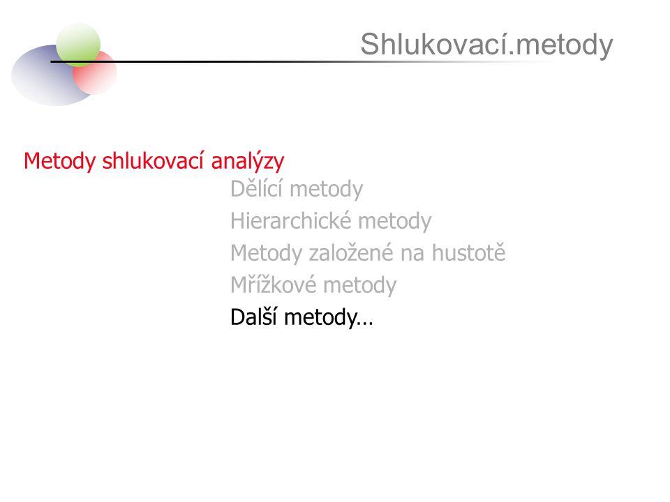 Metody shlukovací analýzy Shlukovací.metody Dělící metody Hierarchické metody Metody založené na hustotě Mřížkové metody Další metody…