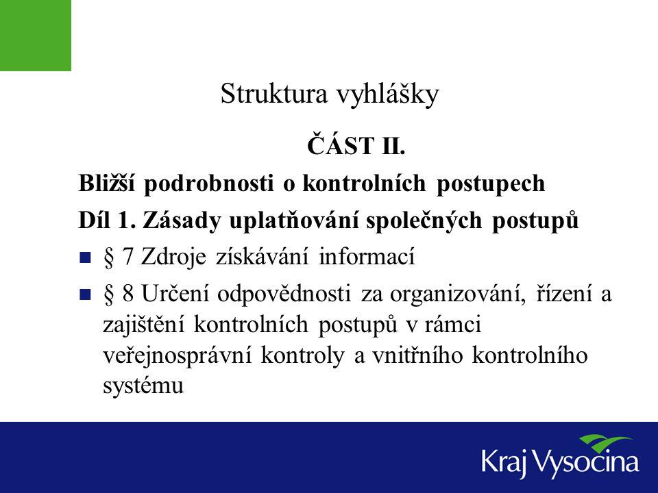 Struktura vyhlášky ČÁST II.Bližší podrobnosti o kontrolních postupech Díl 1.