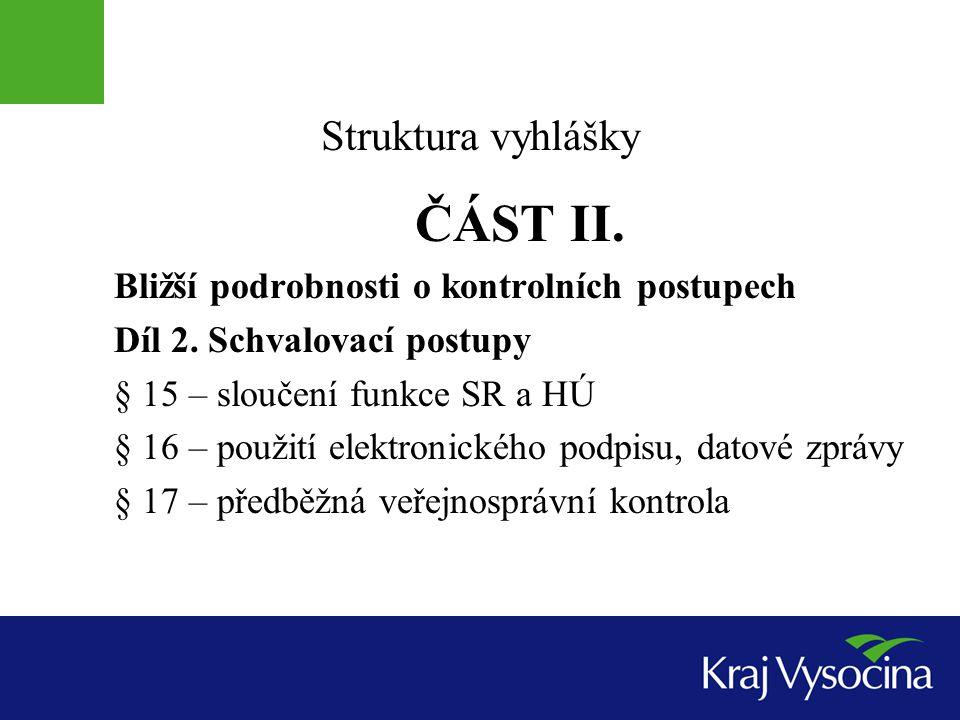 Struktura vyhlášky ČÁST II.Bližší podrobnosti o kontrolních postupech Díl 3.