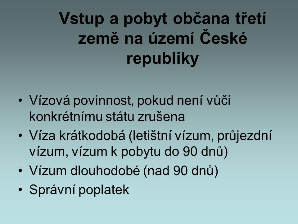 Vstup a pobyt občana třetí země na území České republiky •Vízová povinnost, pokud není vůči konkrétnímu státu zrušena •Víza krátkodobá (letištní vízum