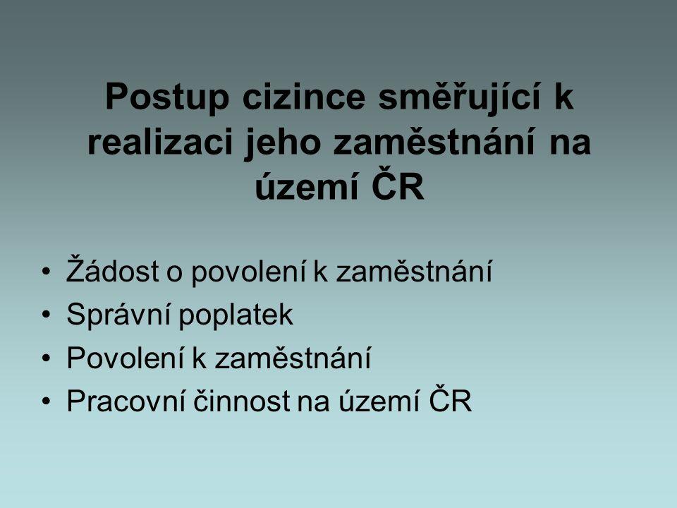• Postup cizince směřující k realizaci jeho zaměstnání na území ČR •Žádost o povolení k zaměstnání •Správní poplatek •Povolení k zaměstnání •Pracovní